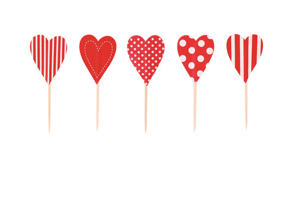 Cupcake Toppers Red Hearts - Paper Eskimo - 2