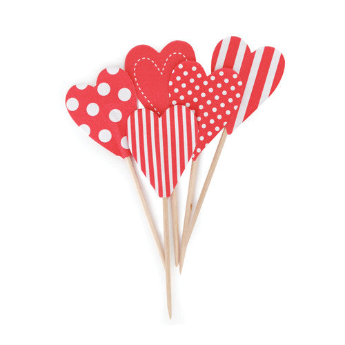 Cupcake Toppers Red Hearts - Paper Eskimo