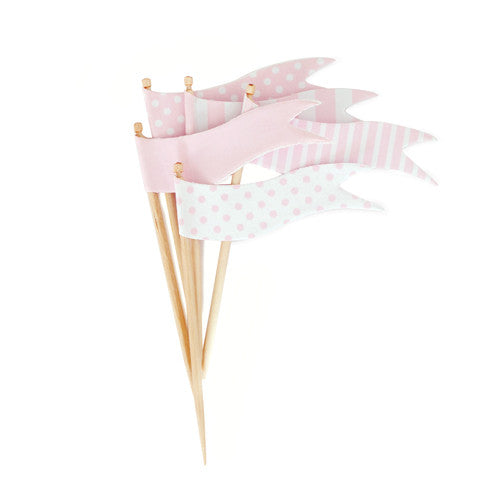 Cupcake Toppers Marshmallow Flags - Paper Eskimo