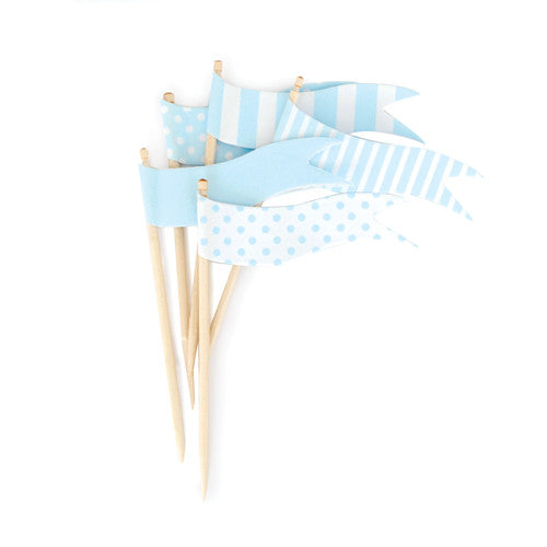 Cupcake Toppers Powder Blue Flags - Paper Eskimo