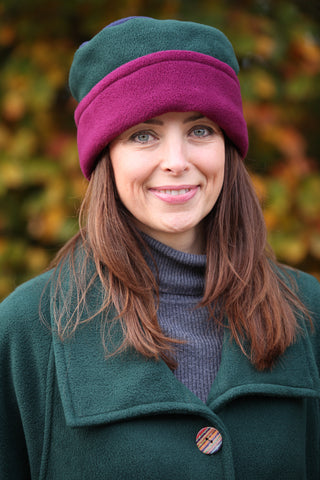 Tri colour reversible Fleece Hat in Forest/Mulberry/Navy