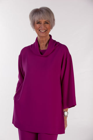 India Oversized Crepe Top in Rich Magenta