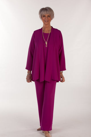 Como Crepe Trousers in Rich Magenta sizes 12 - 24