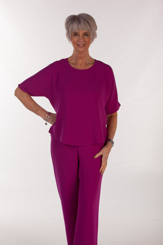 Selina Crepe Top in rich Magenta