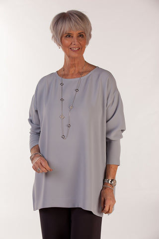 Joanna Oversized Crepe Top in Silver grey and Charcoal grey