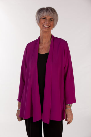 Cambridge Crepe Jacket in Rich Magenta  Sizes 12- 24