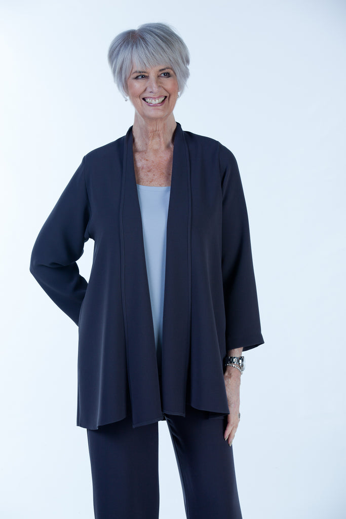 Cambridge Crepe Jacket in Charcoal