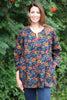October print Nepal Top in Navy/Rust