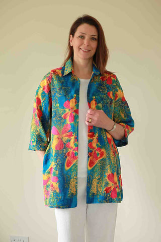 Bali long Shirt in deep turquoise print