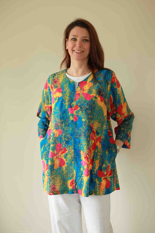 Nepal Top in Deep Turquoise print