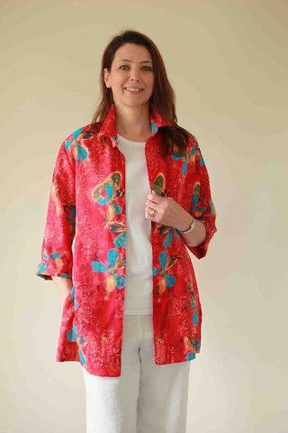 Bali long shirt in Red print