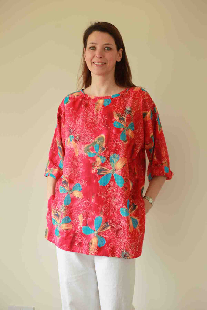 India Cotton Top in Red print