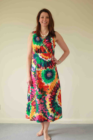 Kaleidoscope Sundress in pink/red/green print