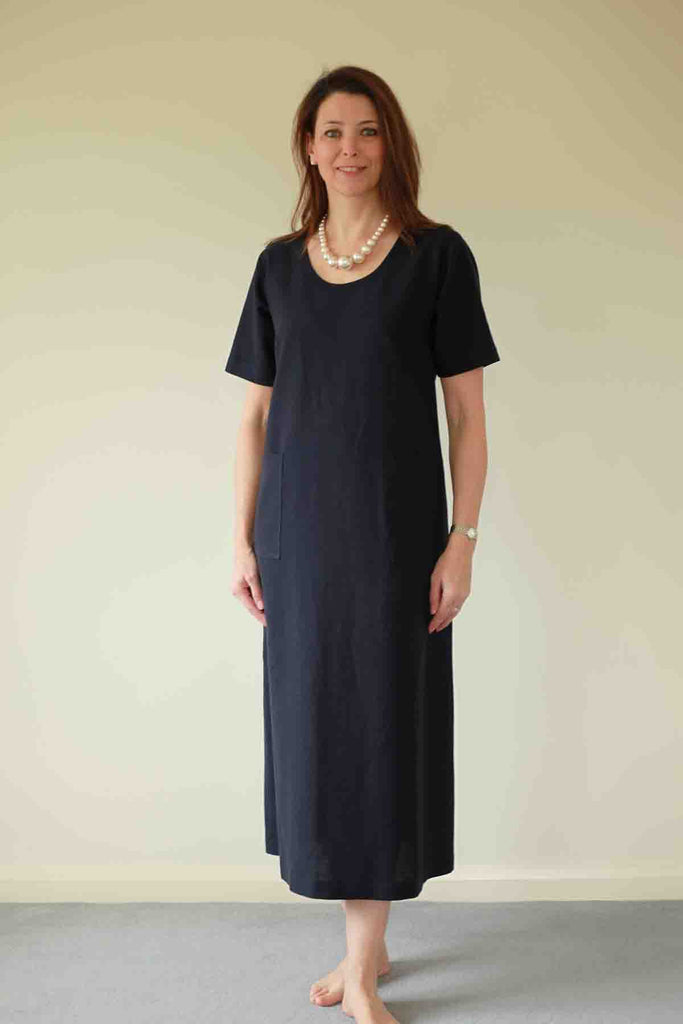 Morocco Long Dress in Navy and Pool Blue