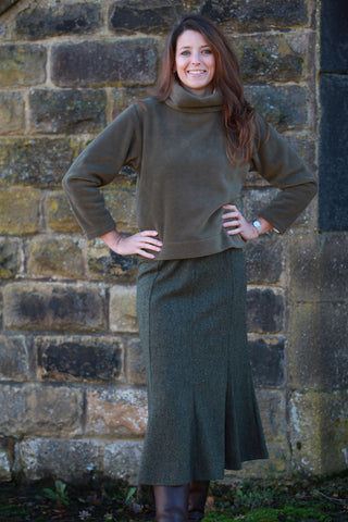 Haworth Tweed Skirt Dark Olive/Black