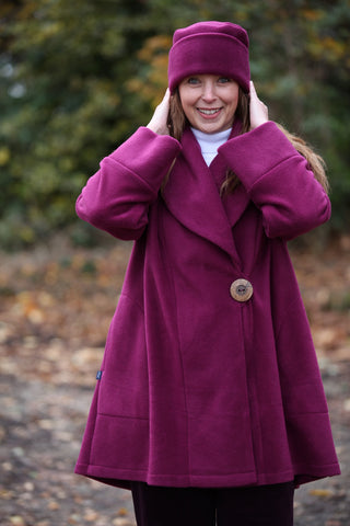 Helmsdale Fleece Coat in Mulberry and Navy