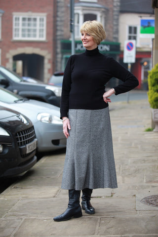 Littondale Herringbone Tweed Skirt