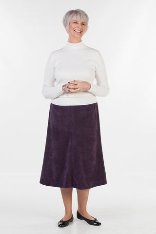 Bedale Skirt in Aubergine cord Size 14 only