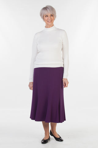 Stratford Jersey Skirt  in Grape