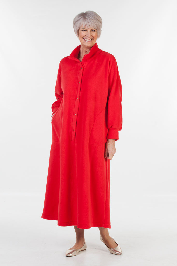 Fleece Kaftan - front opening in Red and Royal