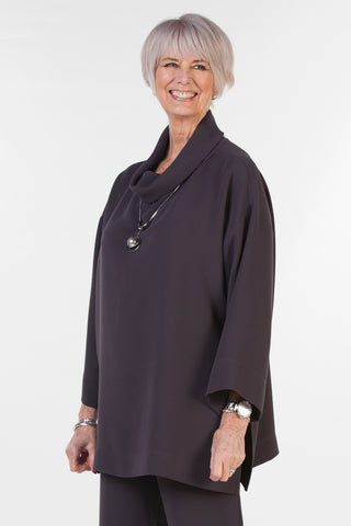India Oversized Crepe Top in Charcoal grey
