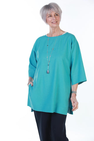 India long oversize top in Pool Blue and White