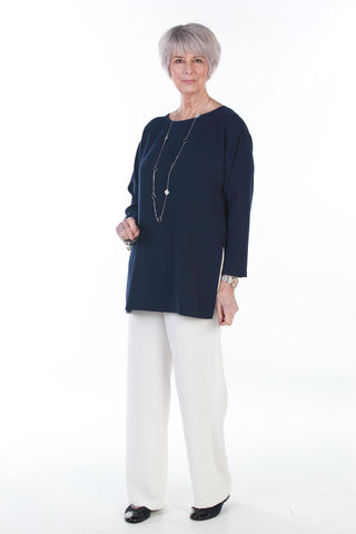 Joanna Oversized Crepe Top in Navy