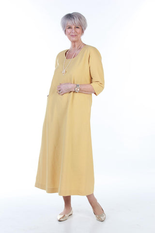 Island long Dress in Ochre sizes   18/20  and  22/24