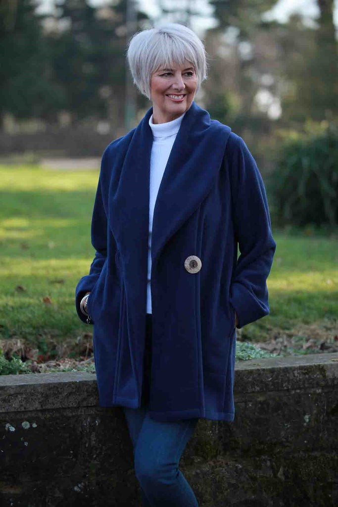 Helmsdale Fleece Coat in Navy
