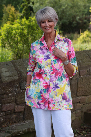 Shelley Overshirt in Pinks and Yellow