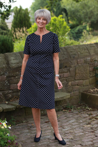 Lindsey Dress in Navy/white spot