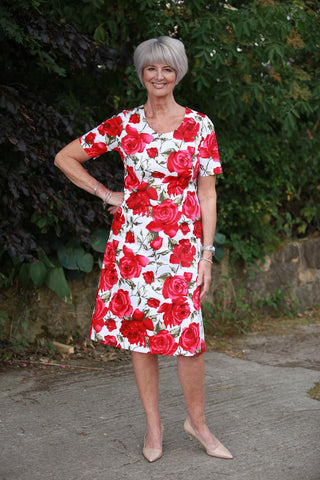 Summer Roses A line Dress  -  Sizes 14 and 20 only