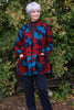 Woodstock long Jacket in Navy/Red/Petrol