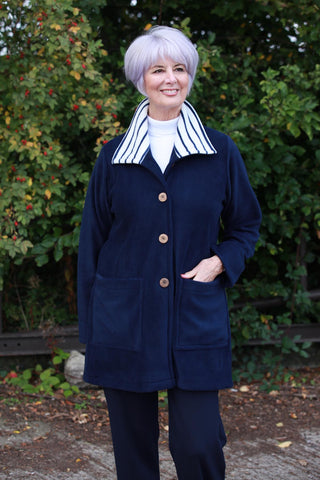 Tanfield Jacket in Navy with striped collar Size 14 only