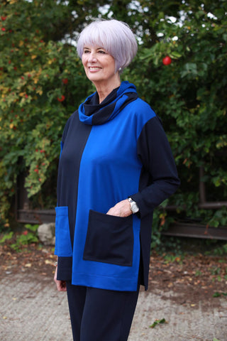 Joanna Oversized Tunic in Navy/Royal and Navy/Scarlett