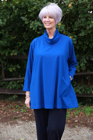 Eva Jersey Swing Top in Royal