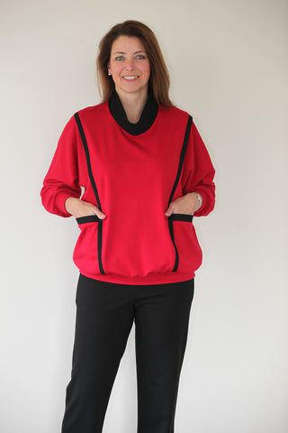 Astra Jersey Top in Scarlet/Black
