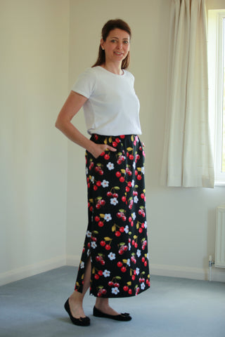Cara Maxi Skirt in Black/Red in 5 lengths