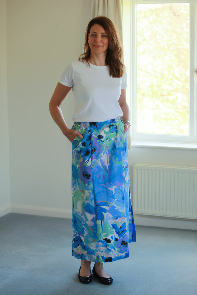Cara Maxi Skirt in Blue/lilac in 5 lengths