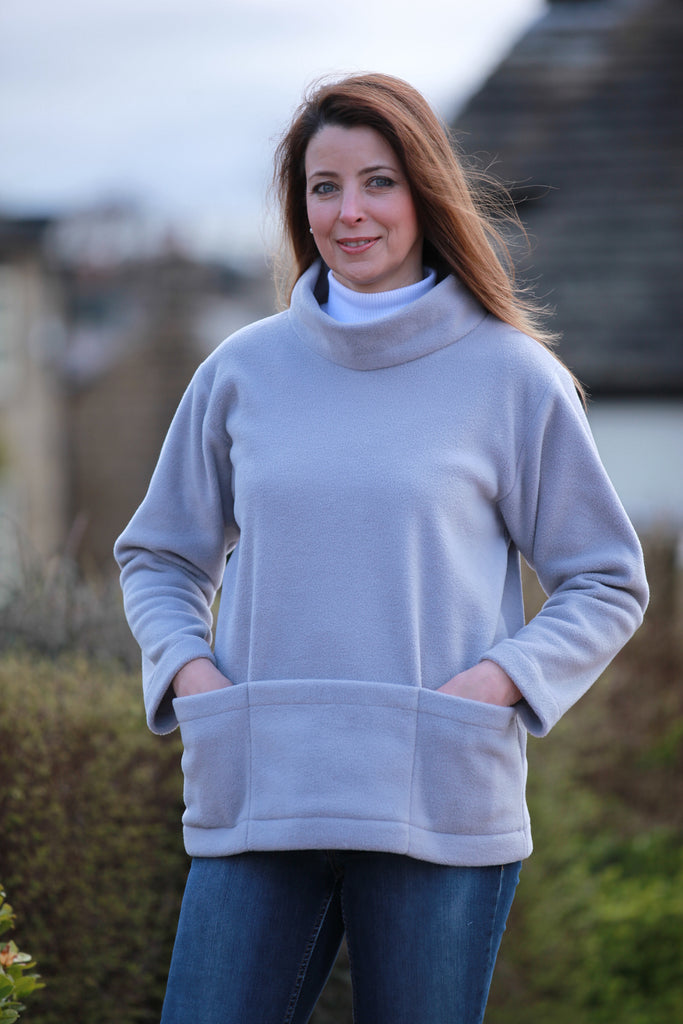 Bewerley Fleece Smock in  Silver Grey  Cobalt blue and Stone