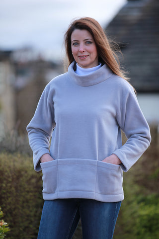 Bewerley Fleece Smock in Cobalt blue and Silver Grey