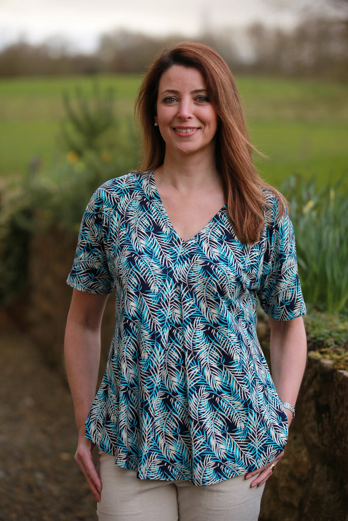 Karina Jersey Top in Navy/stone/turquoise  sizes 10 - 24