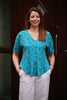 Karina Jersey Top in Aqua/blue Sizes 10 - 24