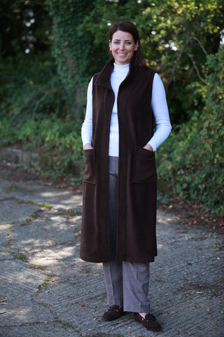 Sample Calder sleeveless Coat in Chocolate Mink and Navy size 12/14