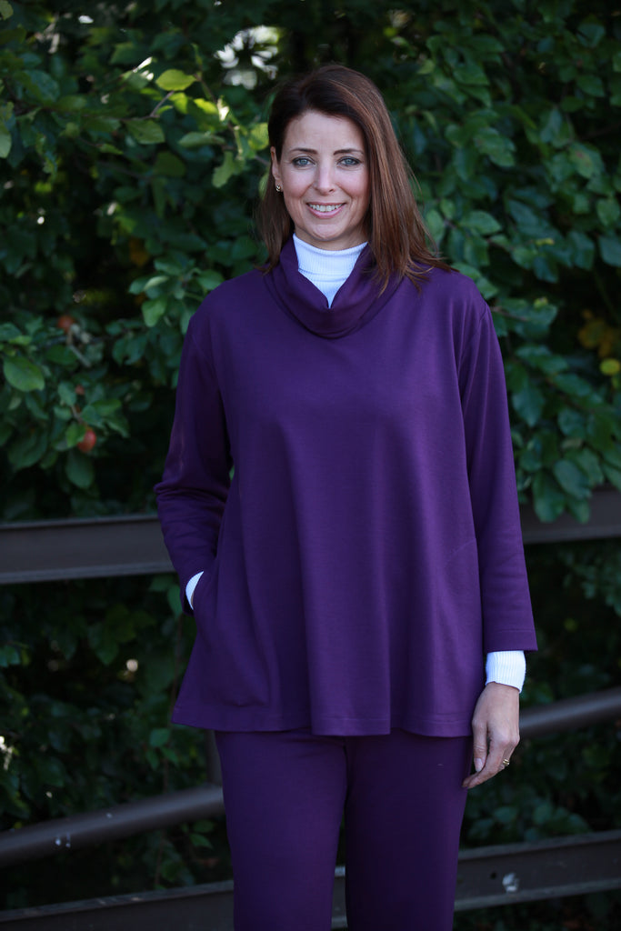 Eva Jersey Swing Top in Grape