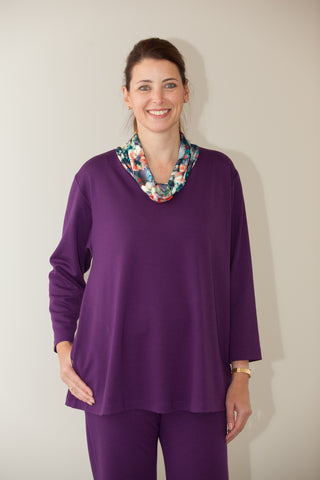 Eva Jersey Top with soft cowl.