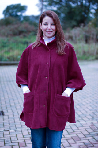 Wharfedale fleece Cape in Mulberry and Chocolate