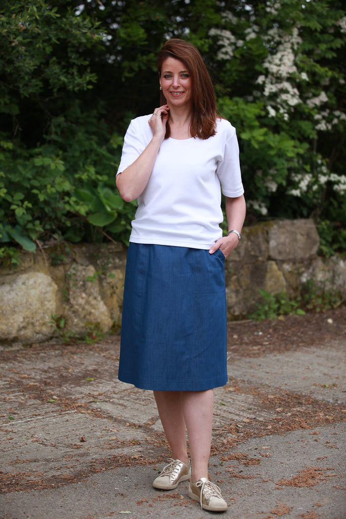 Denim Skirt in Jeans Blue  12 - 20