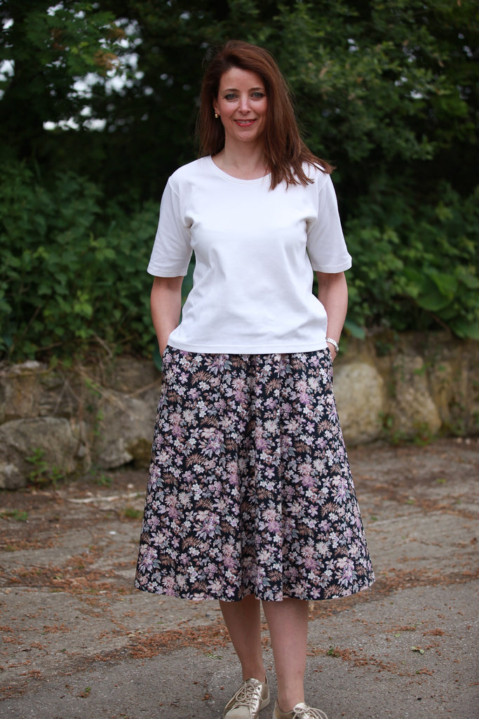 Tara Skirt in Black/dusky pink in 2 lengths