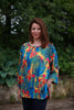 India Cotton Top in Deep Turquoise print